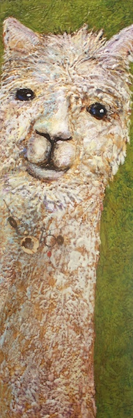 Ruby Tuesday<br>48 x 16<br>Encaustic and Mixed Media on Board<br>$ 2300