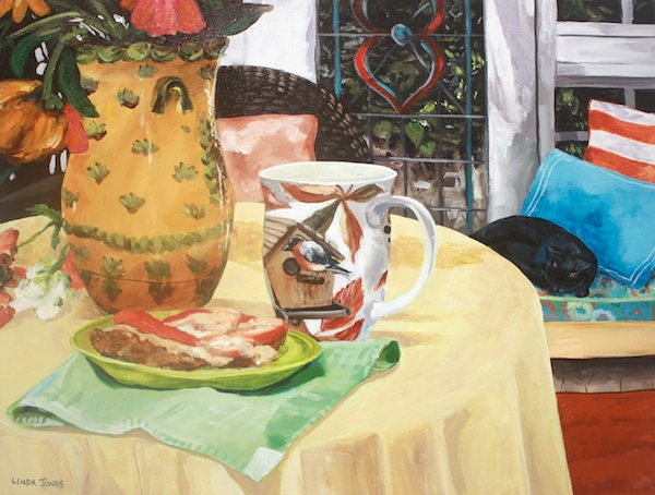 Lunch in the Tea House<br>18 x 24<br>Acrylic on Canvas<br>$ 1100