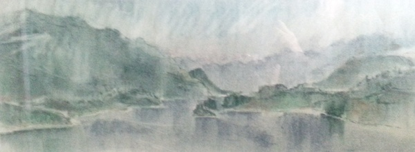 Burrard Inlet and Indian Arm (1957)<br>9 x 24<br>Pastel on Paper<br>SOLD