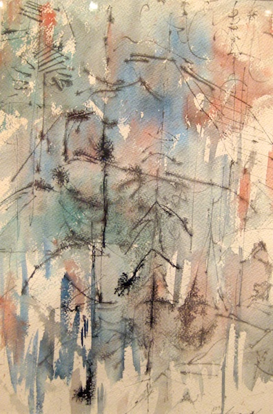 Trees and Rocks (1953)<br>22 x 15<br>Watercolour and Ink on Paper<br>SOLD