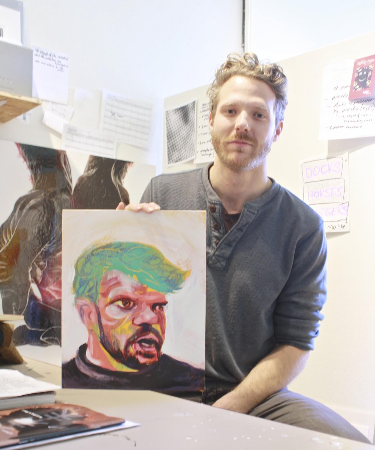 Nic Vandergugten with portrait of Cameron Kidd, Feb 2015