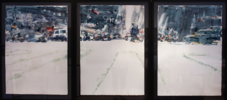 Downtown 41 x 88.5 (triptych) Watercolour SOLD