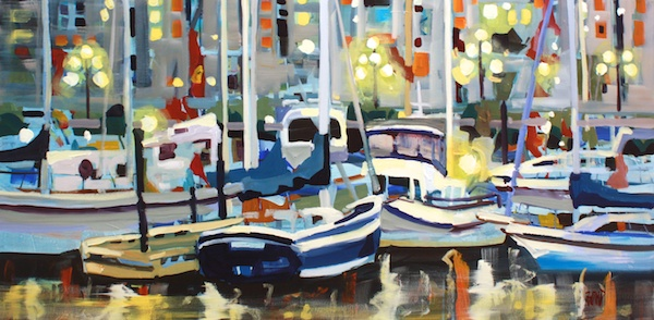 Waterfront Lights 24 x 48 Acrylic on Canvas SOLD