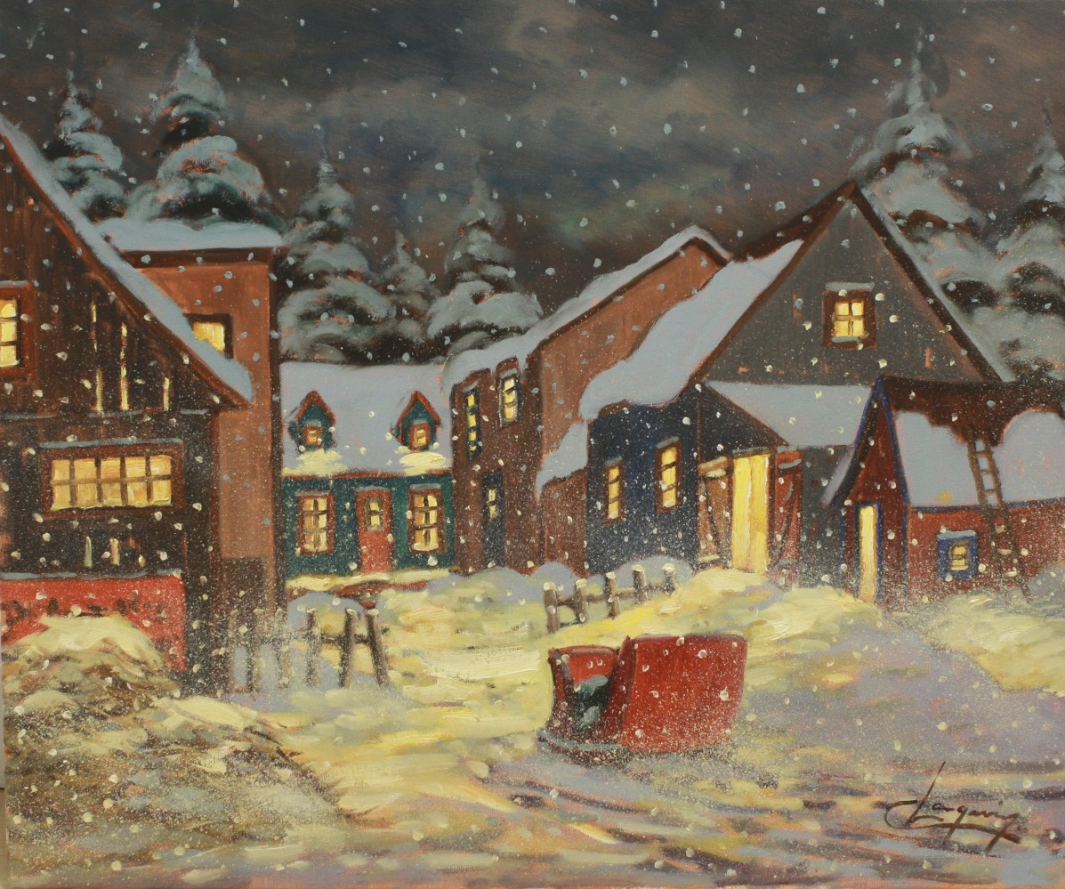 The Red Sleigh 20 x 24 Oil on Canvas SOLD