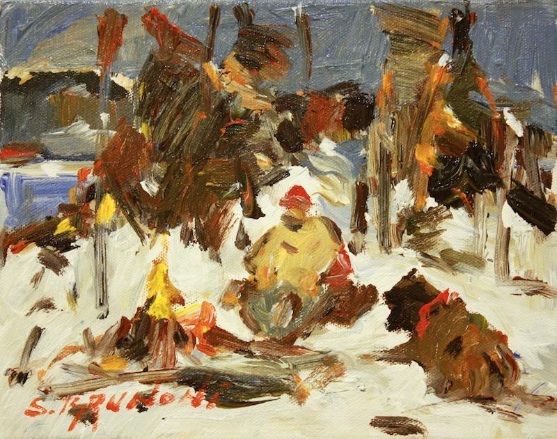 Au coin de feu (Campfire) 8 x 10 Oil on Canvas SOLD