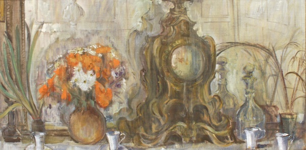 Joseph Plaskett, The White Cups on the Mantlepiece, 15 x 31, Oil on Canvas
