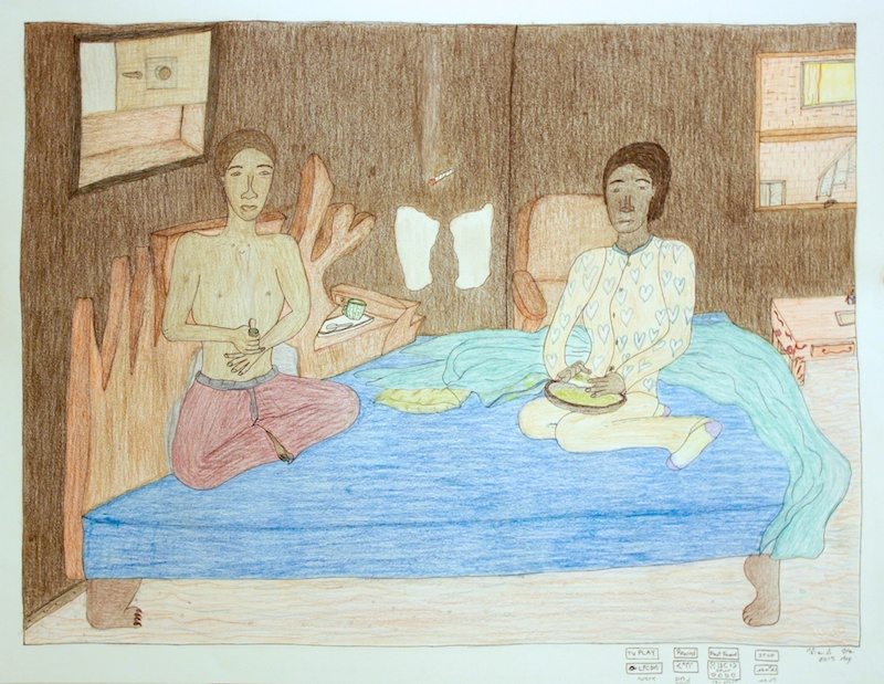 Two Couples Inside Television (148-1906) 23 x 30 Coloured Pencil on Paper SOLD