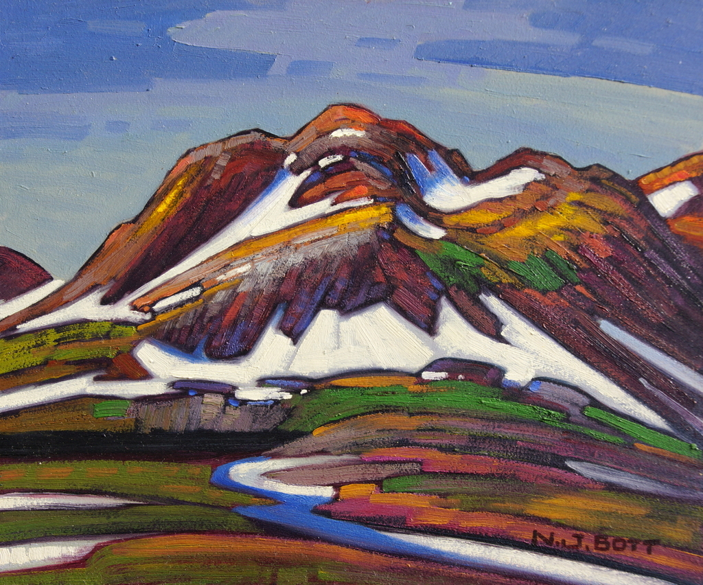 Nuntak Mountains 10 x 12 Oil on Board SOLD