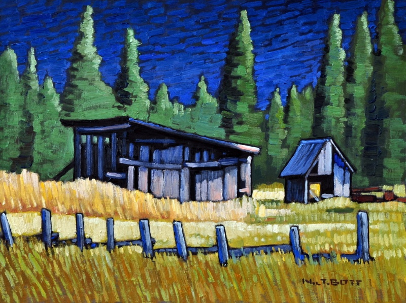 Pemberton Valley Barns 12 x 16 Oil on Board SOLD