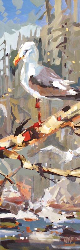 Gull  36 x 12  Acrylic on Canvas  SOLD