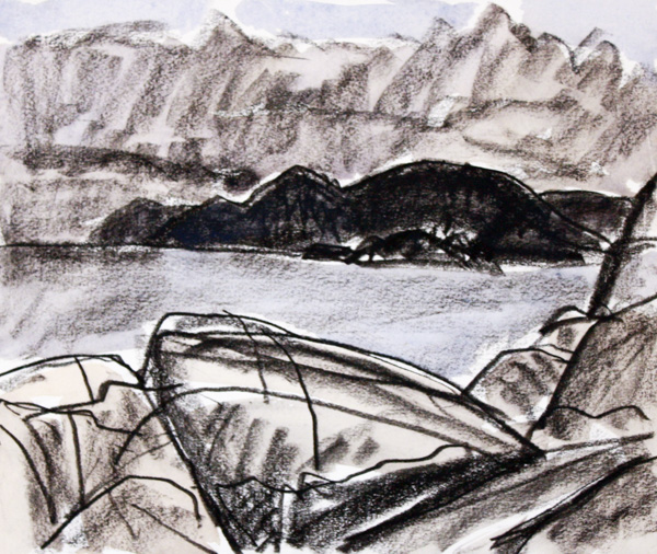 Bowen Island From Lighthouse Park 10 x 12 Ink, Pastel, Watercolour on Paper SOLD