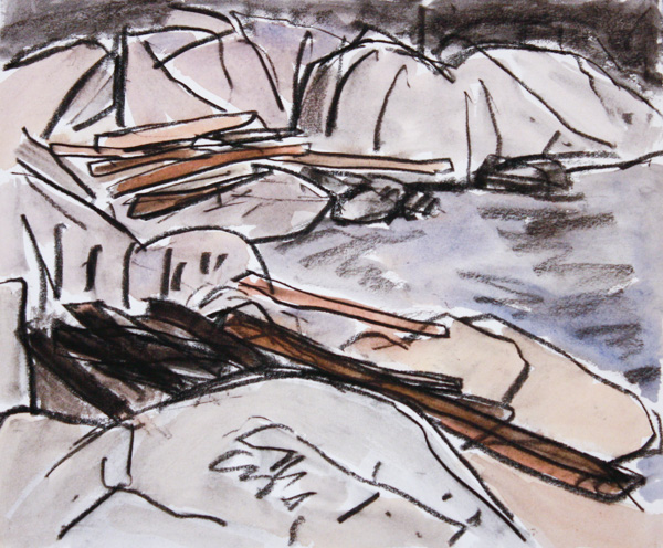Log Filled Inlet, West Vancouver 10 x 12 Ink, Pastel, Watercolour on Paper SOLD