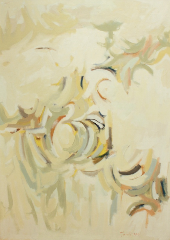 Here and There a Dew Drop Glistening (1958)<br>35.75 x 26<br>Oil on Canvas<br>SOLD