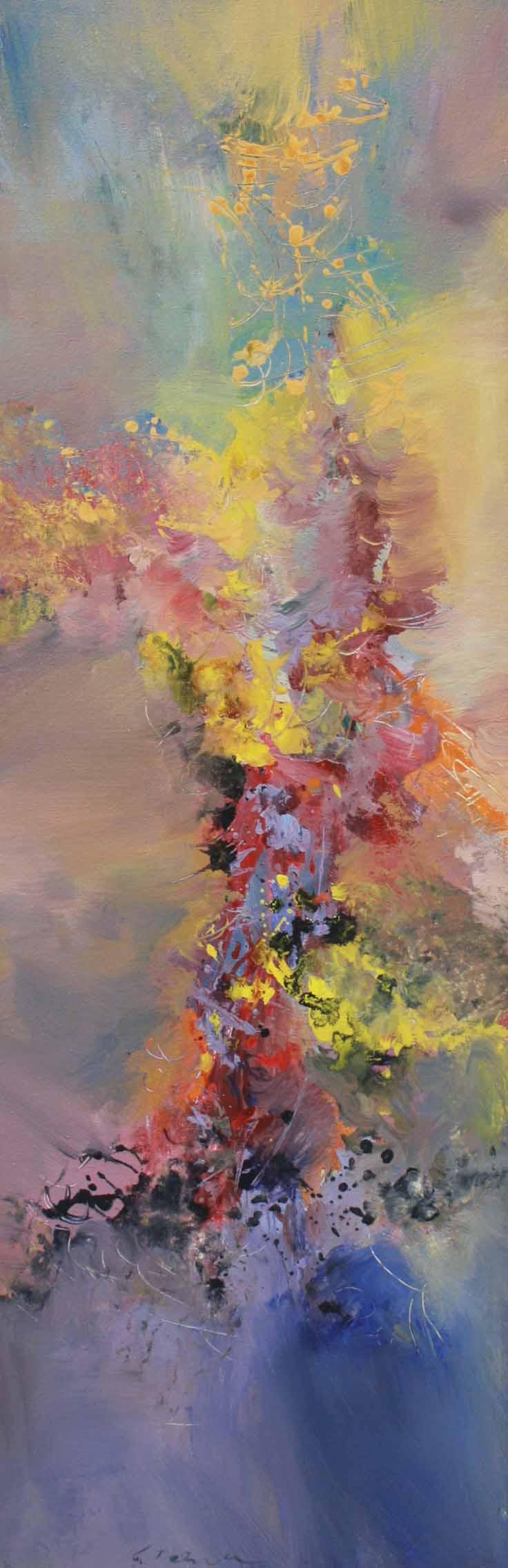 Johannes Brahms, Piano Quartet #3 42 x 16 Acrylic on Canvas SOLD