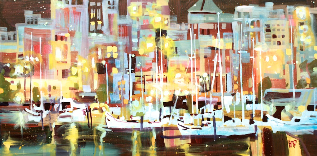 Harbour Lights<Br>24 x 48<Br>Acrylic on Canvas<Br>SOLD