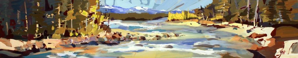 River Tartan  12 x 60  Acrylic on Canvas  SOLD