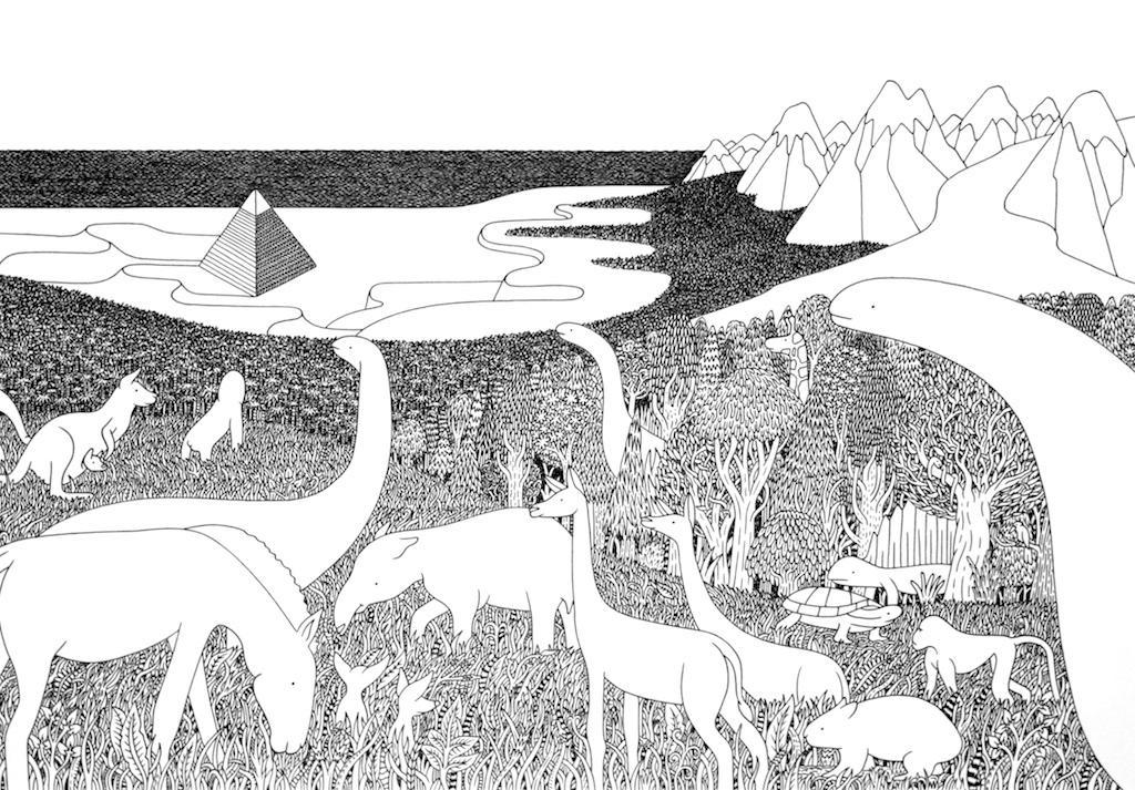 Luke Ramsey<br>Intelligent Sentient<br>12 x 17<br>Ink Drawing