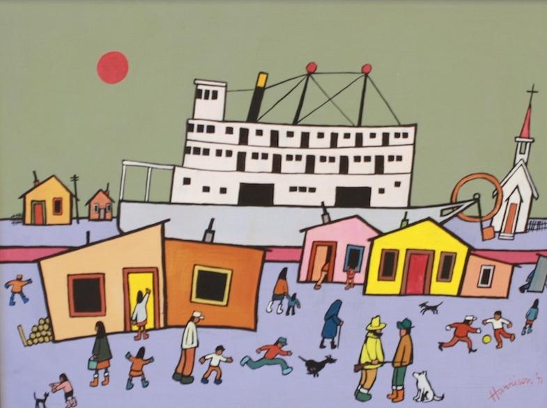 Ted Harrison<br>Yukon Days<br>14 x 19<br>Acrylic on Board<br>SOLD