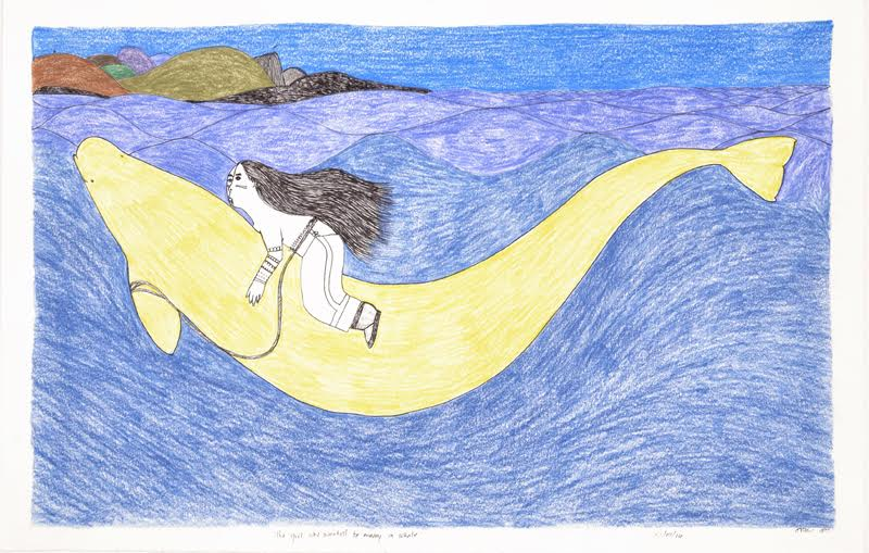 The Girl Who Wanted to Marry a Whale<Br>15 x 23<Br>Graphite, Colour Pencil and Ink<Br>SOLD