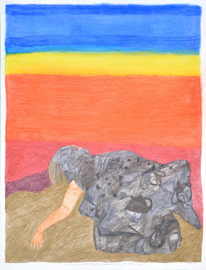 The End is Near<br>30 x 23<br>Graphite, Coloured Pencil, Ink and Pastel<br>$ 1950