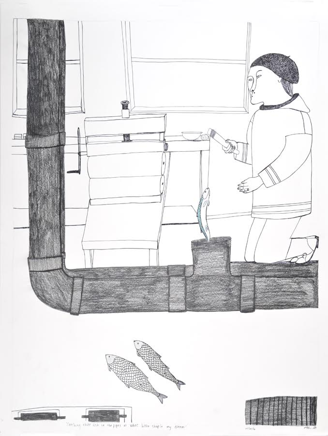 Catching Three Fish in the Pipes at WBEC Litho Shop in my Dream<br>30 x 23<br>Graphite, Coloured Pencil and Ink<br> $ 1950