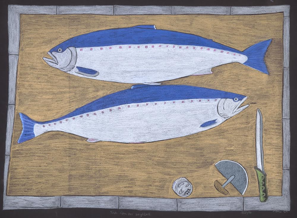 Fish From Our Neighbours<br>22 x 30<br>Graphite, Coloured Pencil and Ink<br> $ 1950
