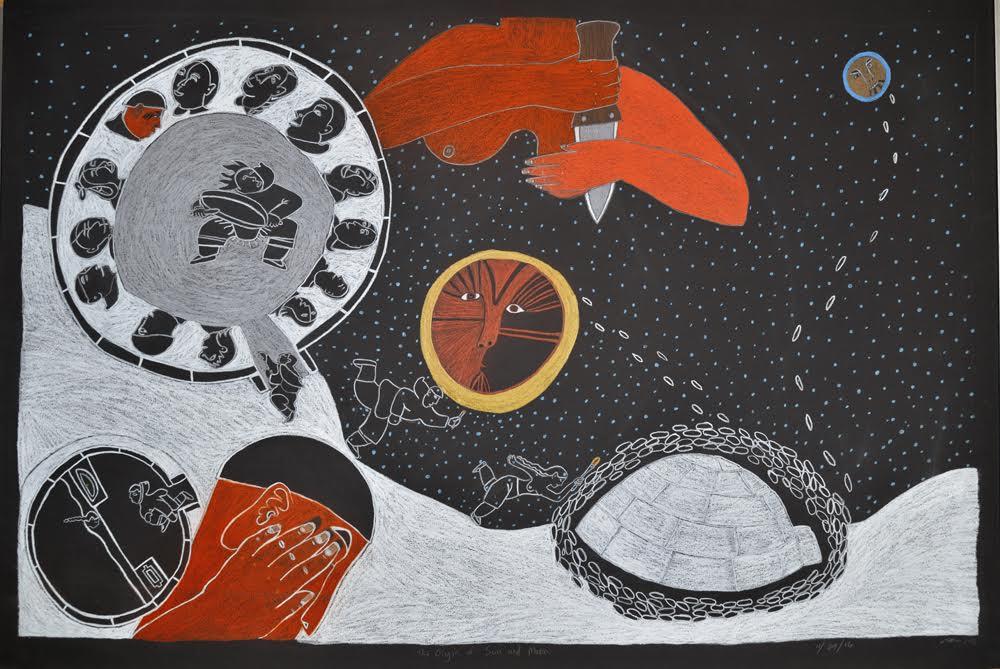The Origin of the sun and moon.   30 x 44 Inches.  Coloured Pencil on BLack Paper