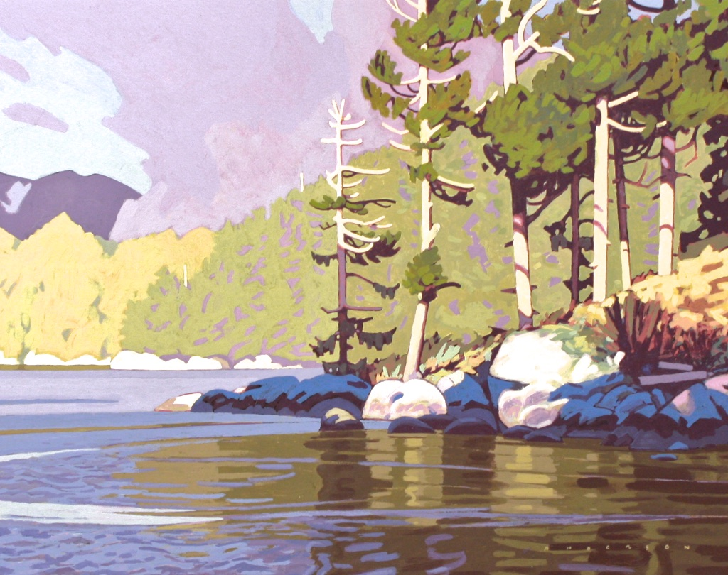 Swift Water in Canoe Rapids Pass<Br>14.5 x 18.5<Br>Acrylic on Board<Br>SOLD