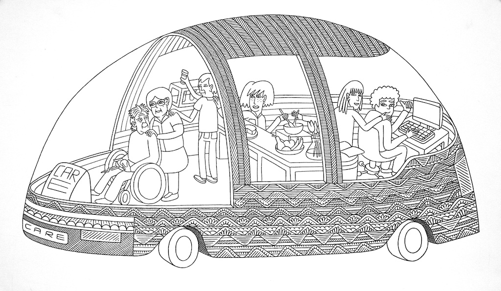 Car Care<Br>9.5 x 16<Br>Ink on Paper<Br>$ 650