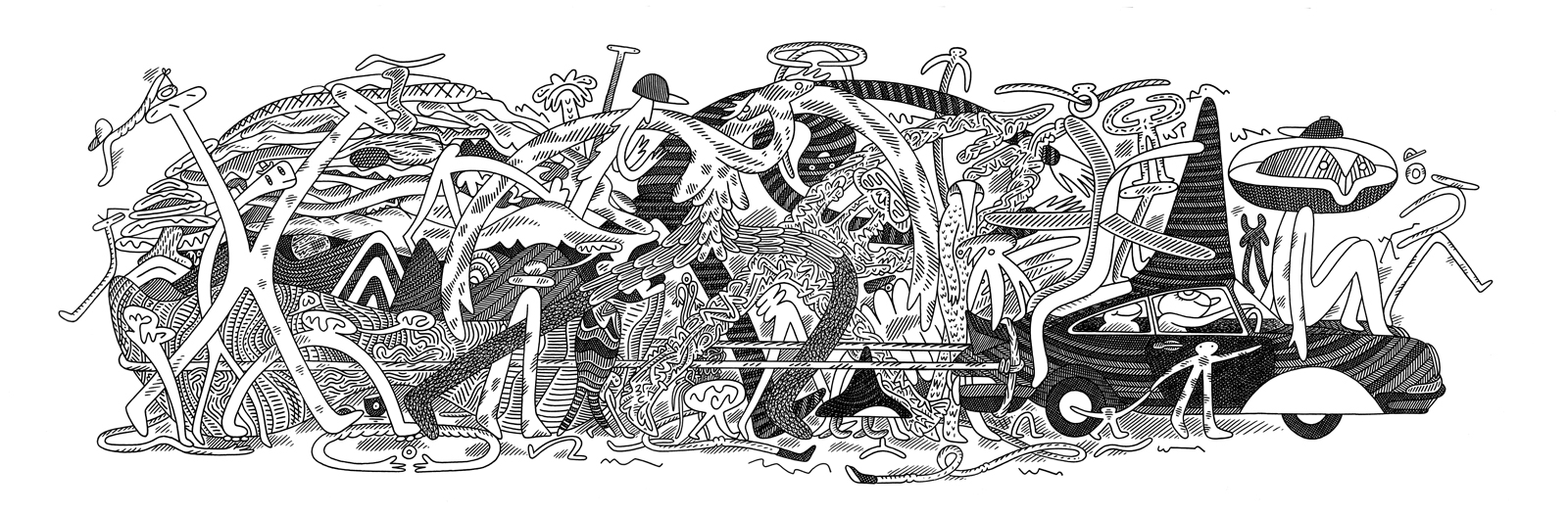 Pull<Br>11 x 35<Br>Ink on Paper<Br>$ 1250