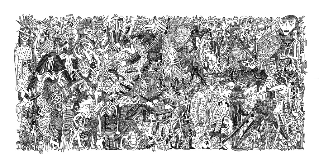 Another Parade<Br>18 x 35<Br>Ink on Paper<Br>SOLD