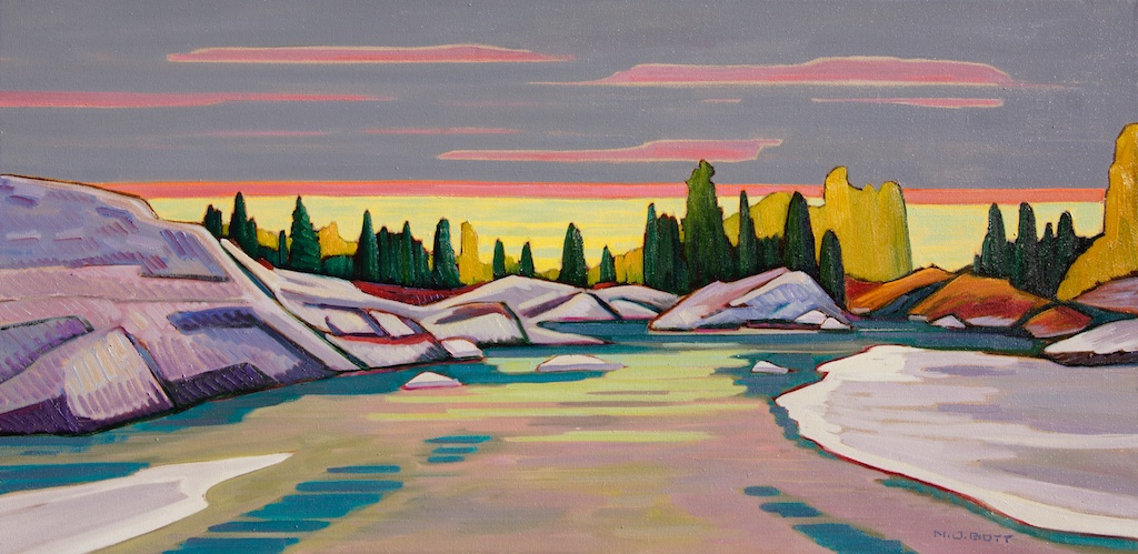 Nicholas Bott<Br>Low Tide - Oak Bay<Br>18 x 36<Br>Oil on Canvas<Br>$ 4150
