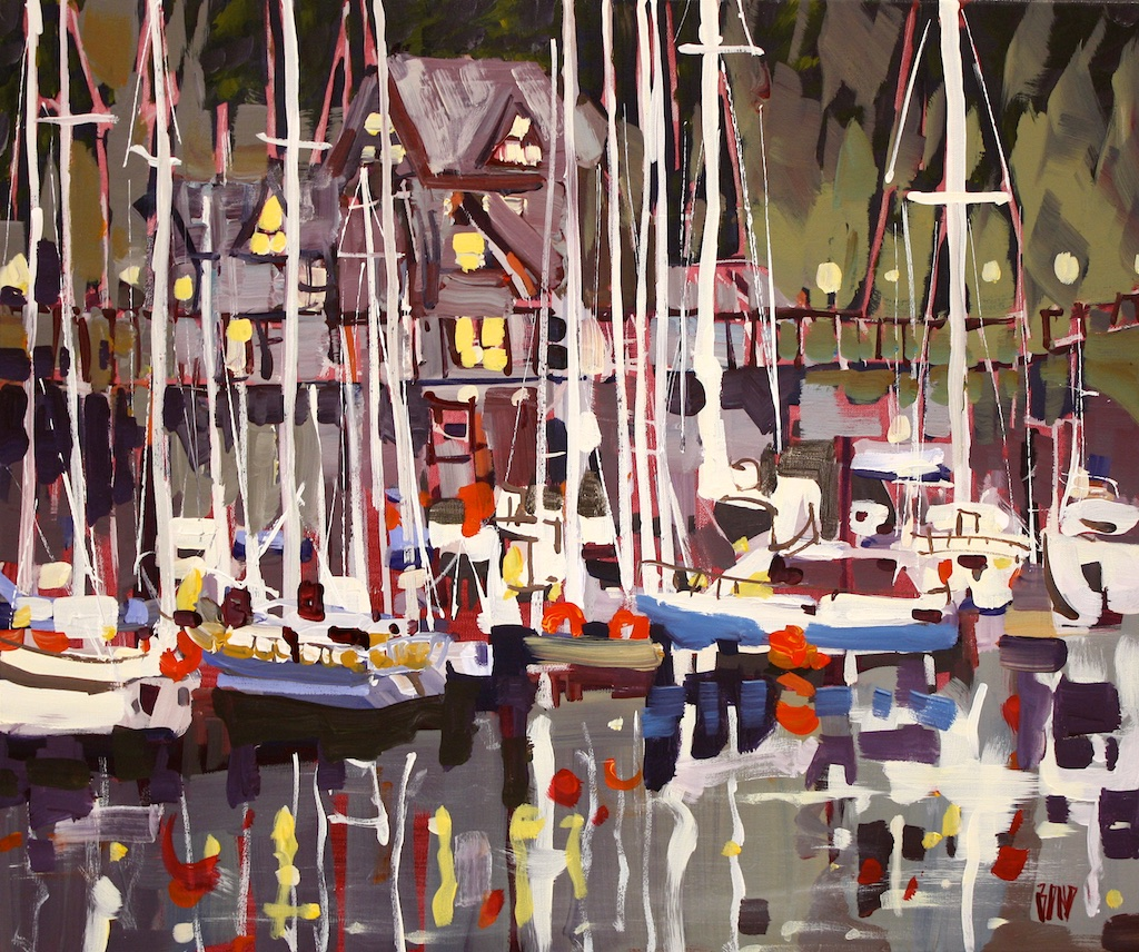 Rick Bond<Br>Marina Morning<Br>20 x 24<Br>Acrylic on Canvas<Br>$ 2150