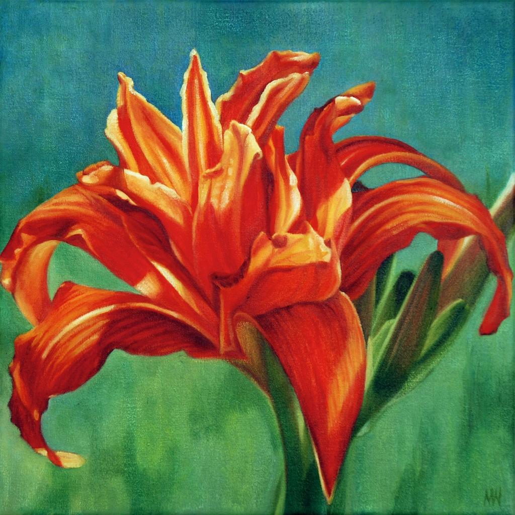 Madeleine Wood<Br>Daylily<Br>16 x 16<Br>Oil on Canvas<Br>$ 1600