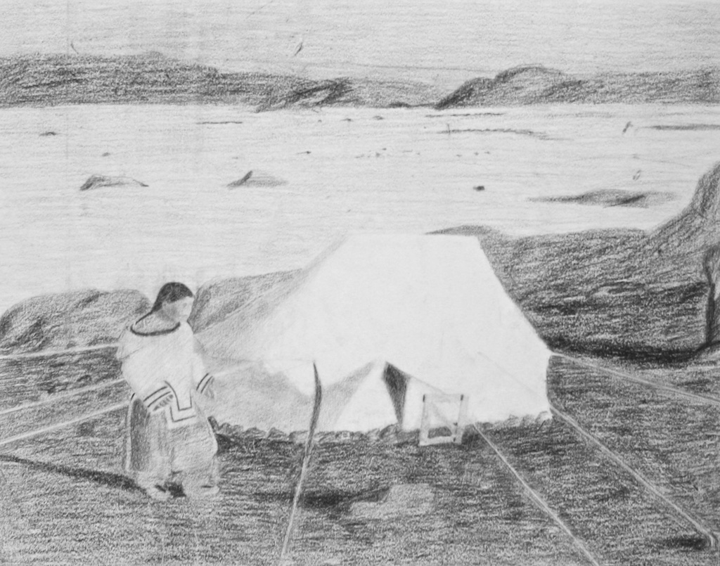 Woman and Summer Tent (152-0019)<br>18 x 23<br>Graphite and Ink<br>$ 1100 (Framed)