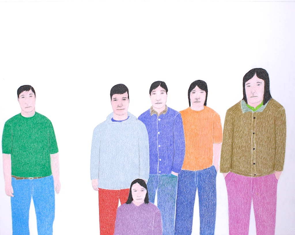 Some Young People (152-0383)<Br>19.5 x 25.5<Br>Graphite, Colour Pencil and Ink<Br>$ 1300 (Framed)