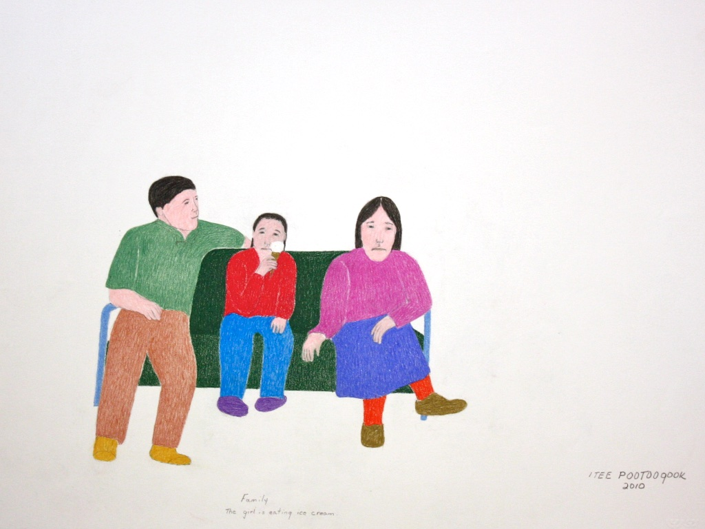 Family, The Girl is Eating Ice Cream (152-0374)<Br>20 x 26<Br>Graphite, Colour Pencil and Ink<Br>$ 1150 (Framed)