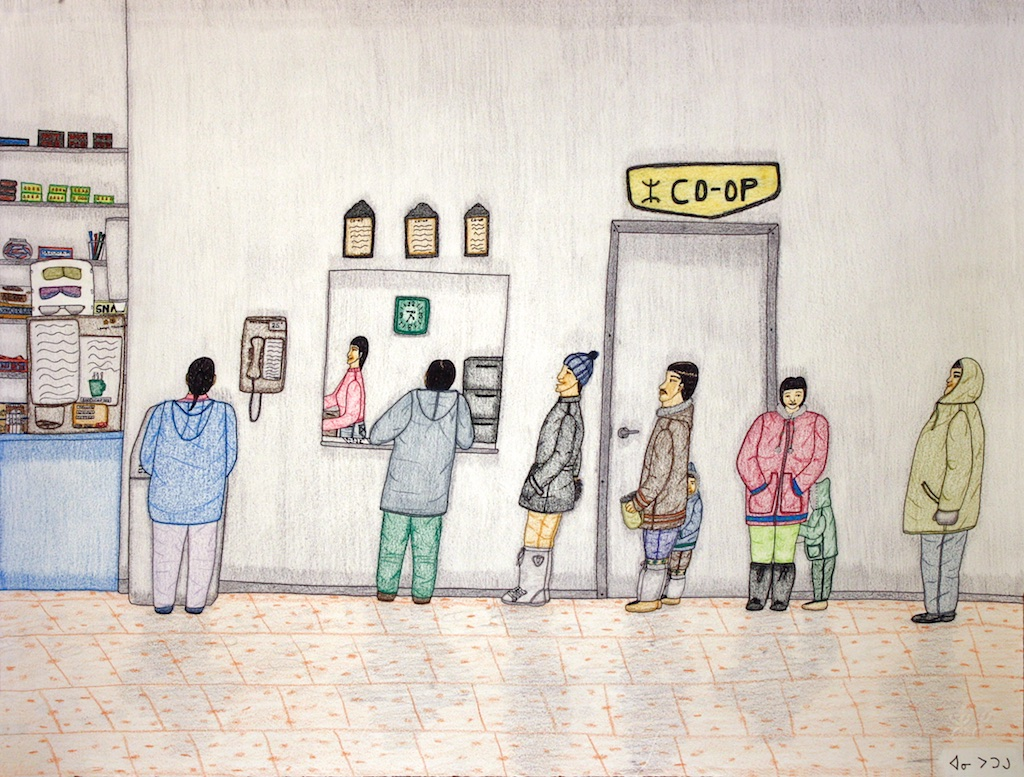 Co-Op (177-108) 20 x 26 Graphite, Colour Pencil and Ink SOLD