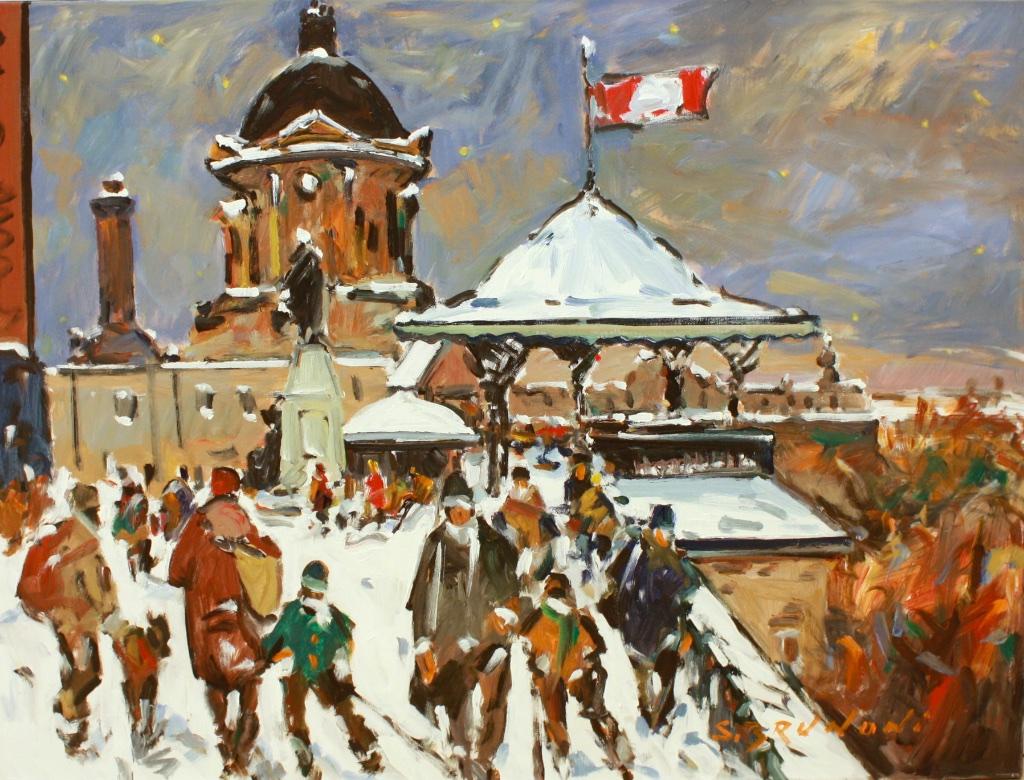 Quebec, dufferin terrace, serge brunoni, 30 x 40, Acrylic on canvas