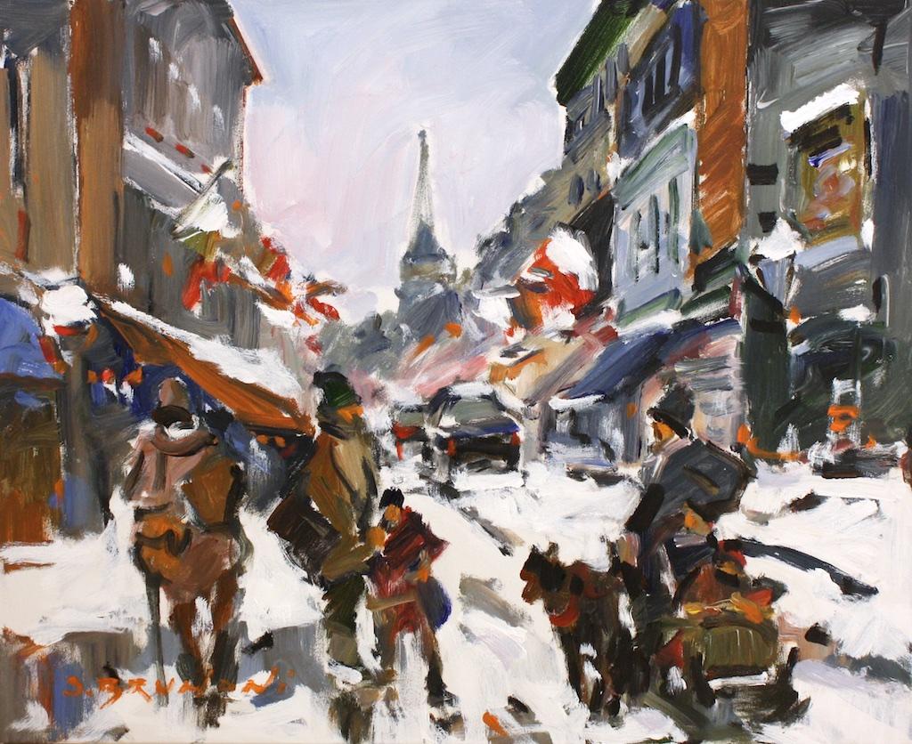 Montréal, rue St Paul<Br>24 x 30<Br>Acrylic on Canvas<Br>$ 3400