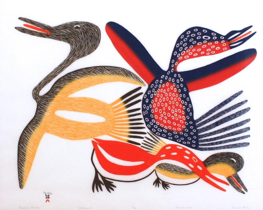 Meelia's Birds (2006)<Br>Meelia Kelly<Br>22 x 28<Br>Stonecut<Br>