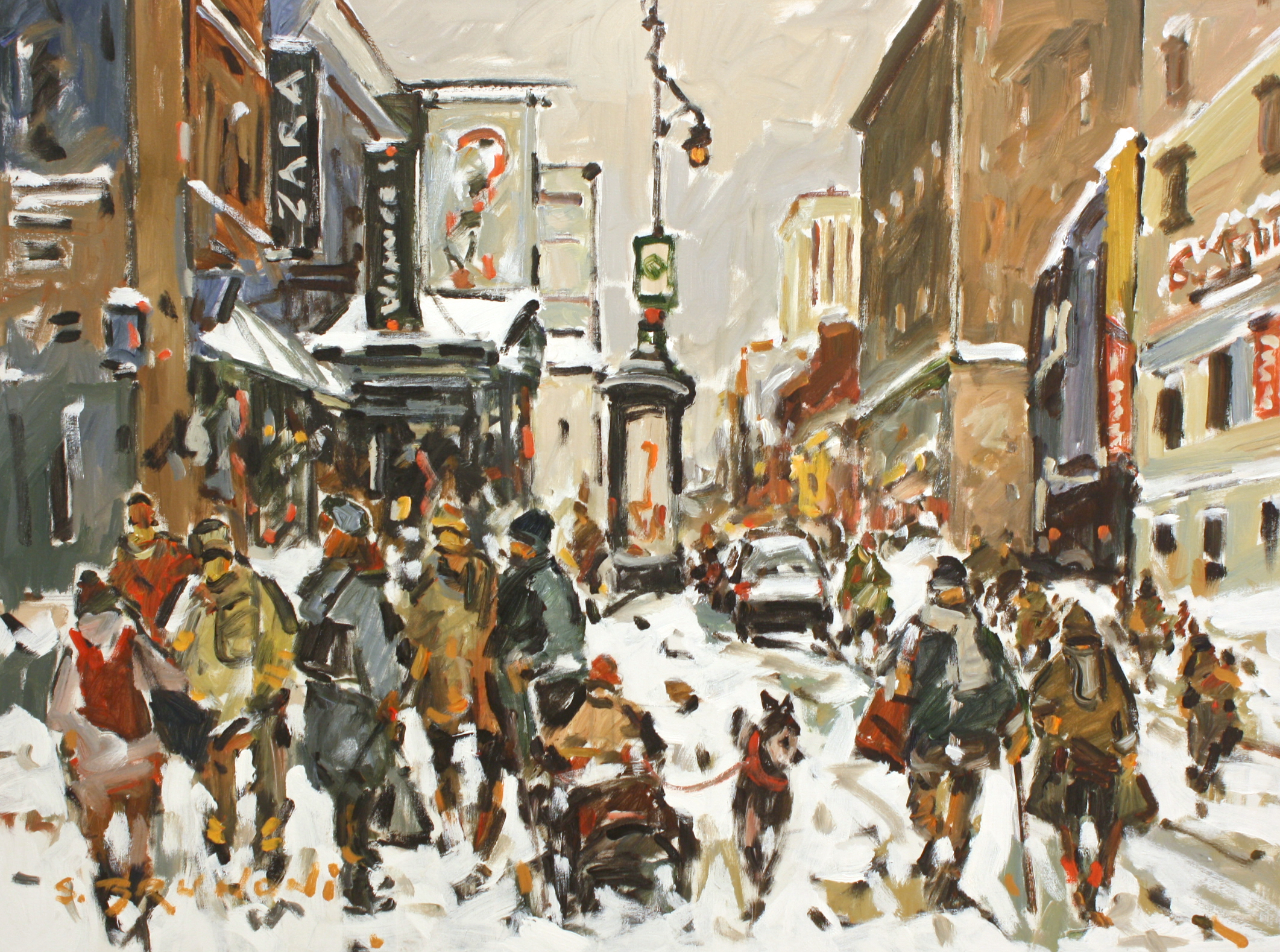 Montreal - St. Catherine Street<br>30 x 40<br>Acrylic on Canvas<br>$ 5450