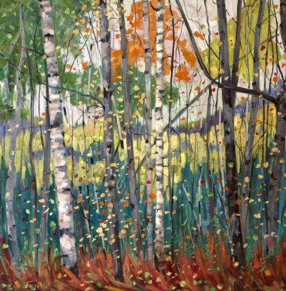 Autumn View <br> Graham Forsythe <br> 36 x 36 <br> Acrylic on Cavas