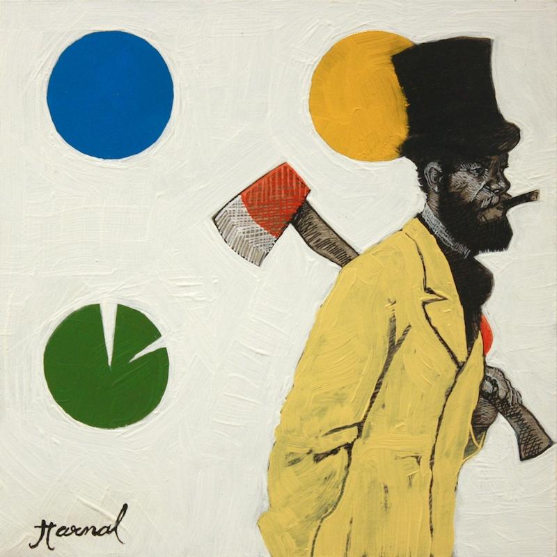 Flaneur Vandale <br> Kapil Harnal <br> 6 x 6 <br> Ink and Oil on Wood