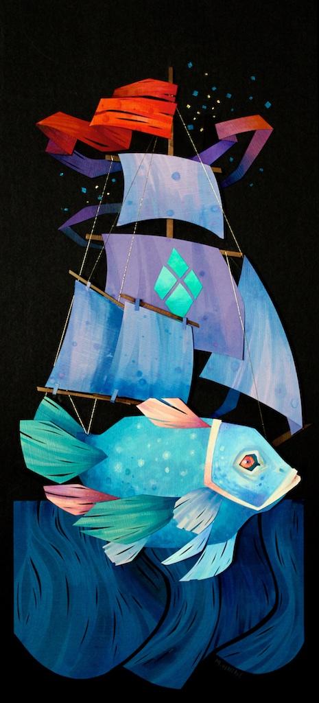Dream Voyage <br> Morgana Wallace <br> 20 x 9 <br> Collage