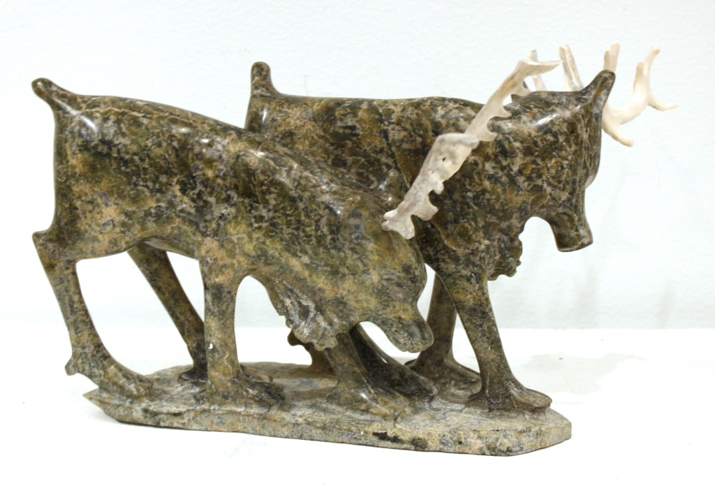 Caribou<Br>6 x 10 x 8<Br>Serpentine and Antler<Br>$ 2000