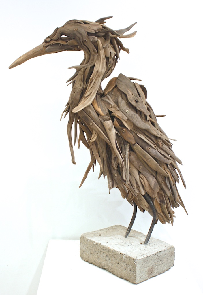 Lone (Heron)  30 x 24 x 10  Wood, Rebar, Concrete  SOLD