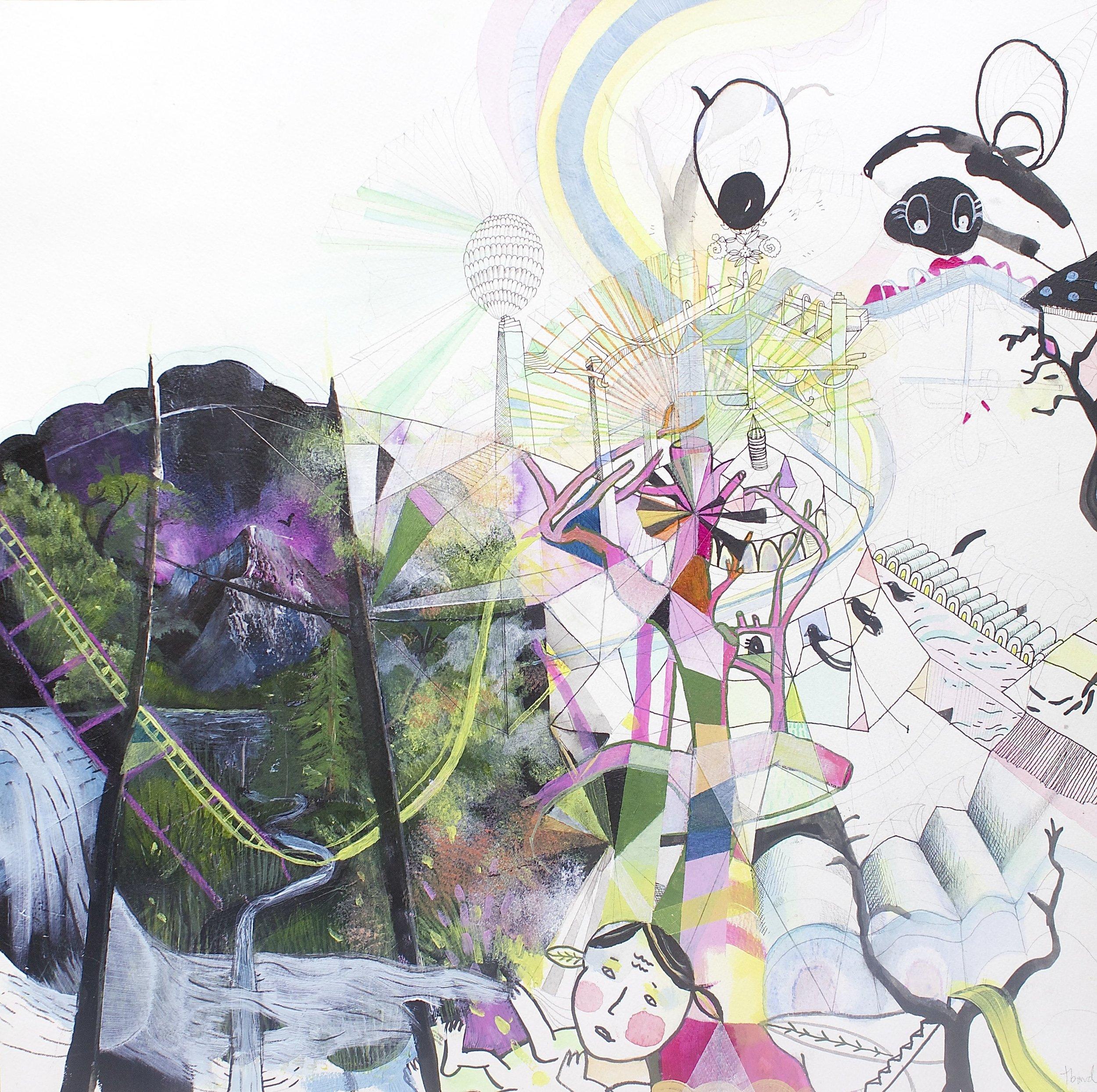 Twelve<Br>Tamara Bond<Br>22 x 22<Br>Mixed Media on Paper<Br>$ 1800