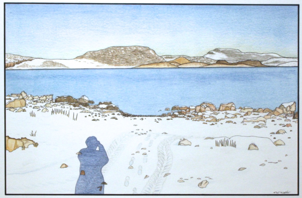 Tracks in Snow (196-0099)<Br>Pudlo Samayualie<Br>23 x 30<Br>Coloured Pencil on Paper<Br>$ 1550