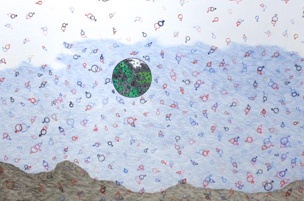 Genders (191-0551)<Br>Nicotye Samayualie<Br>23 x 30<Br>Coloured Pencil on Paper<Br>$ 1150